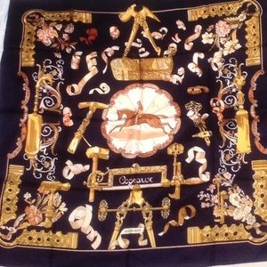 Hermes Copeaux black and gold silk scarf